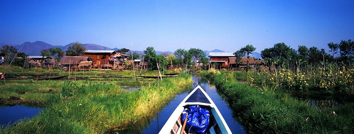Inle lake canales y poblados