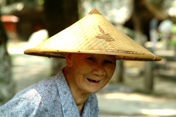 Anciana  sonriendo en Guilin, Guanxi China